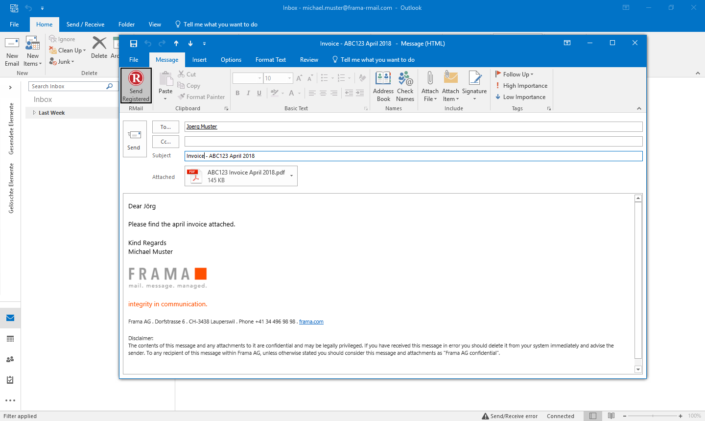 Sending registered email with Outlook - Step 2