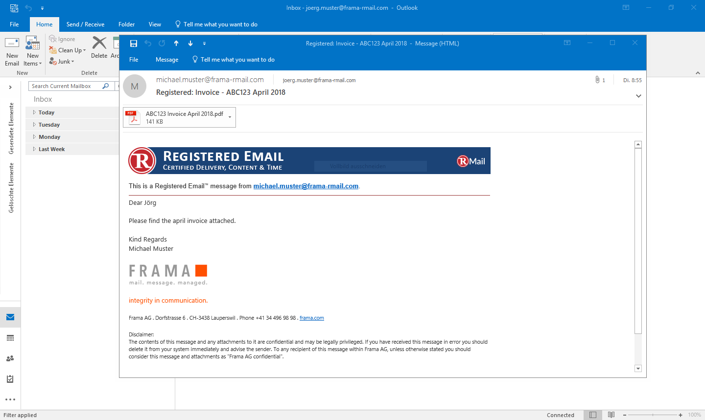 Send & Receive Registered Emails in Outlook | Frama RMail