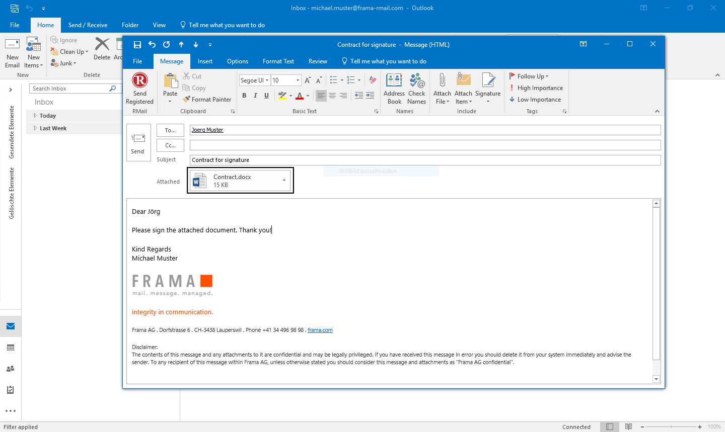 RMail for Outlook sign documents electronically - Step 1