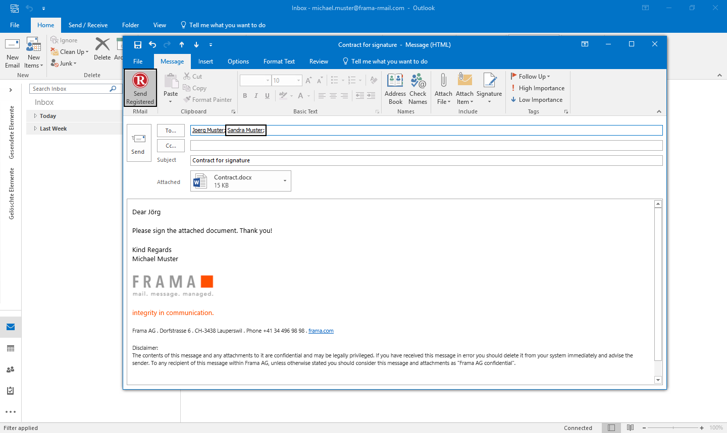 RMail for Outlook sign documents electronically - Step 2