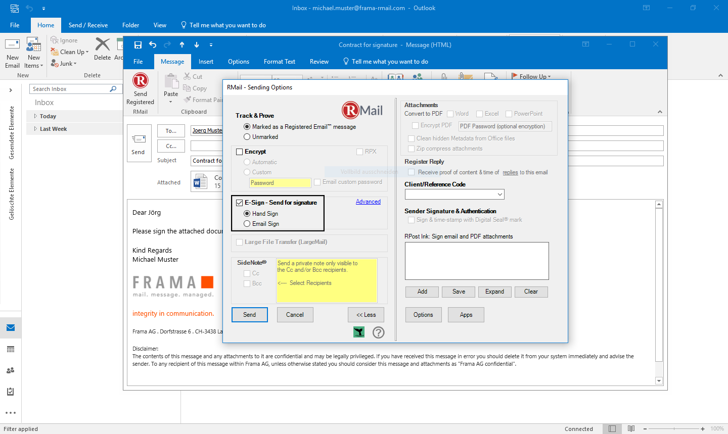 RMail for Outlook sign documents electronically - Step 3