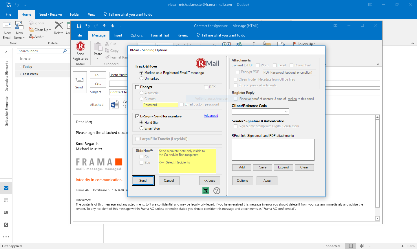 RMail for Outlook sign documents electronically - Step 4
