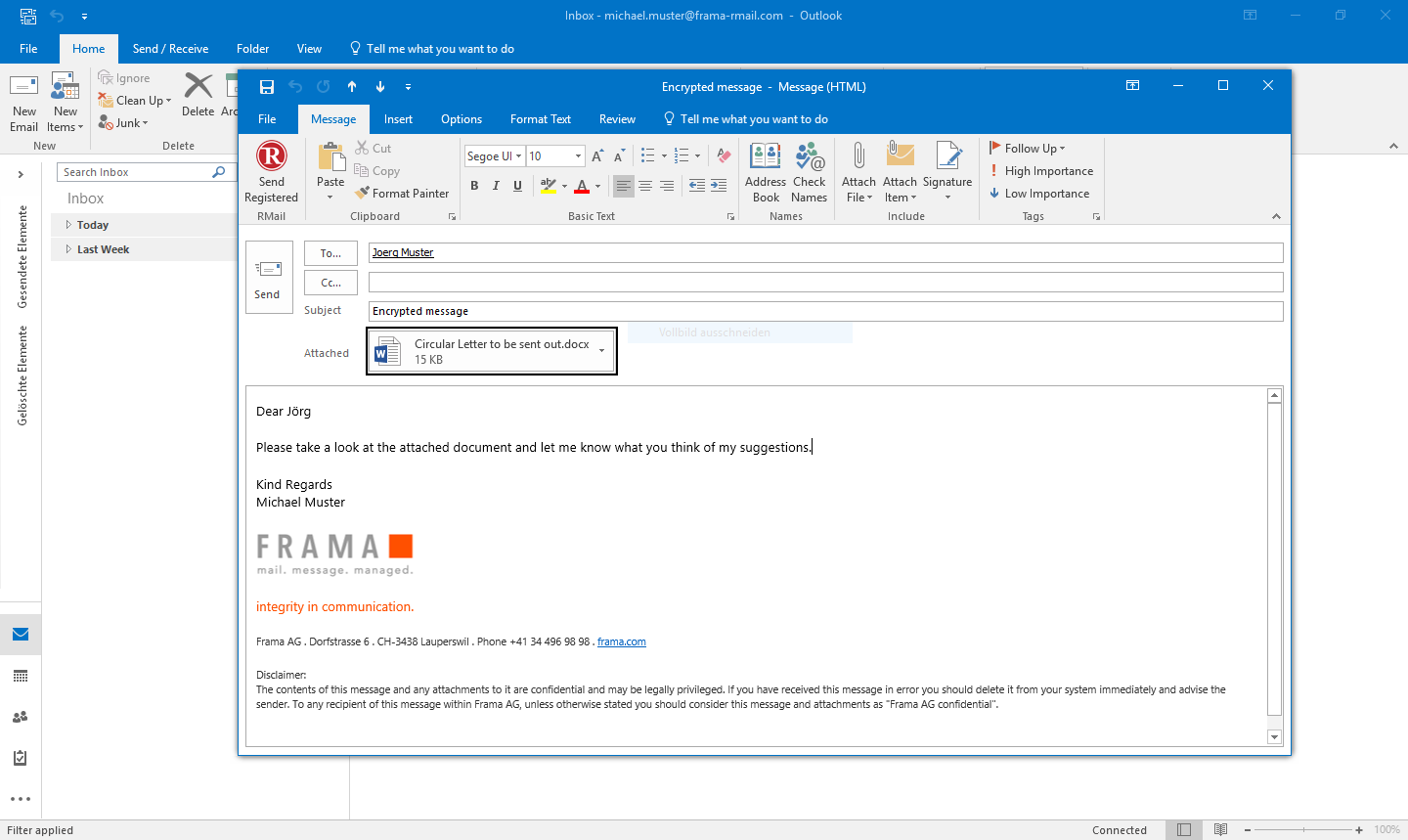 RMail for Outlook send encrypted emails - Step 1