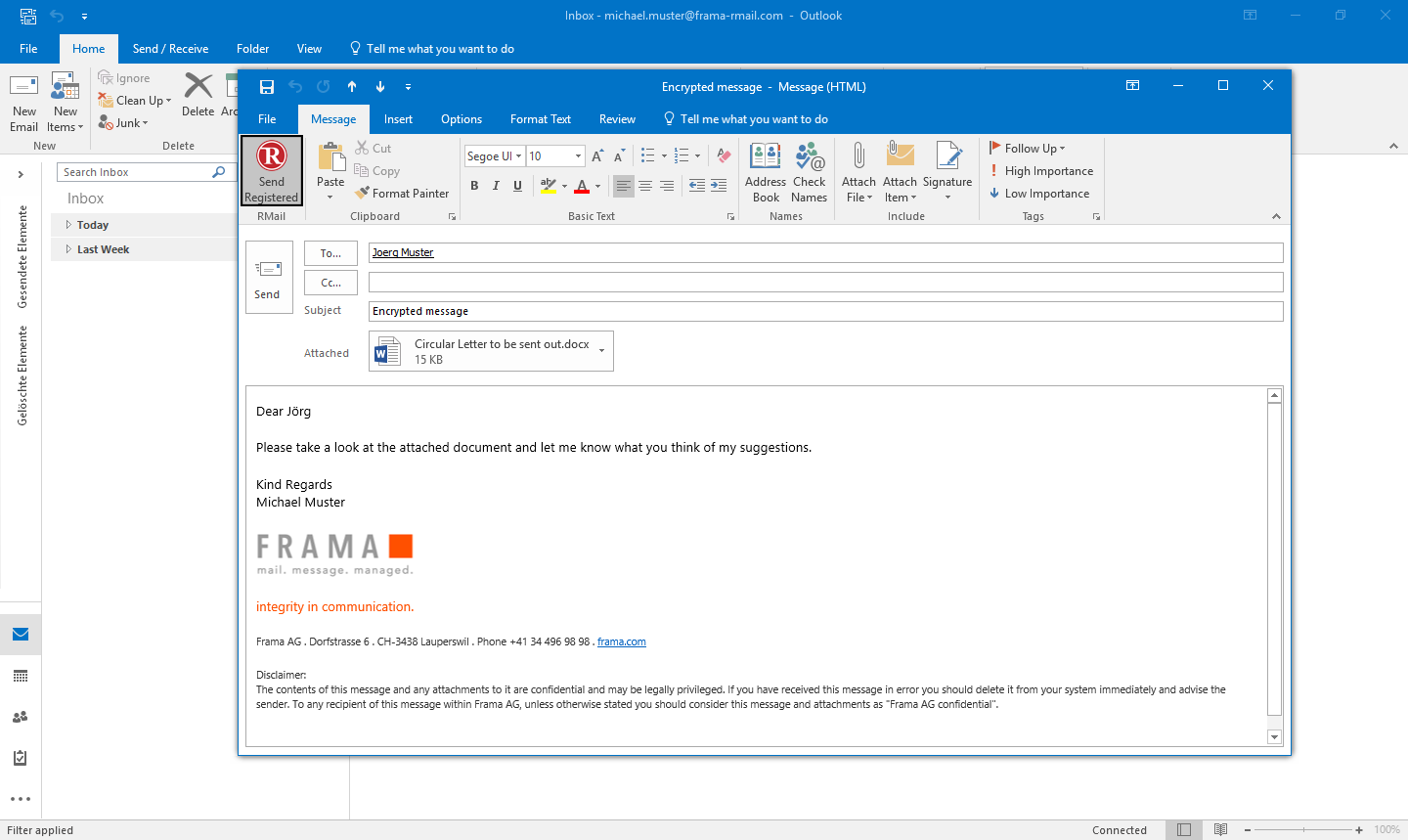 RMail for Outlook send encrypted emails - Step 2