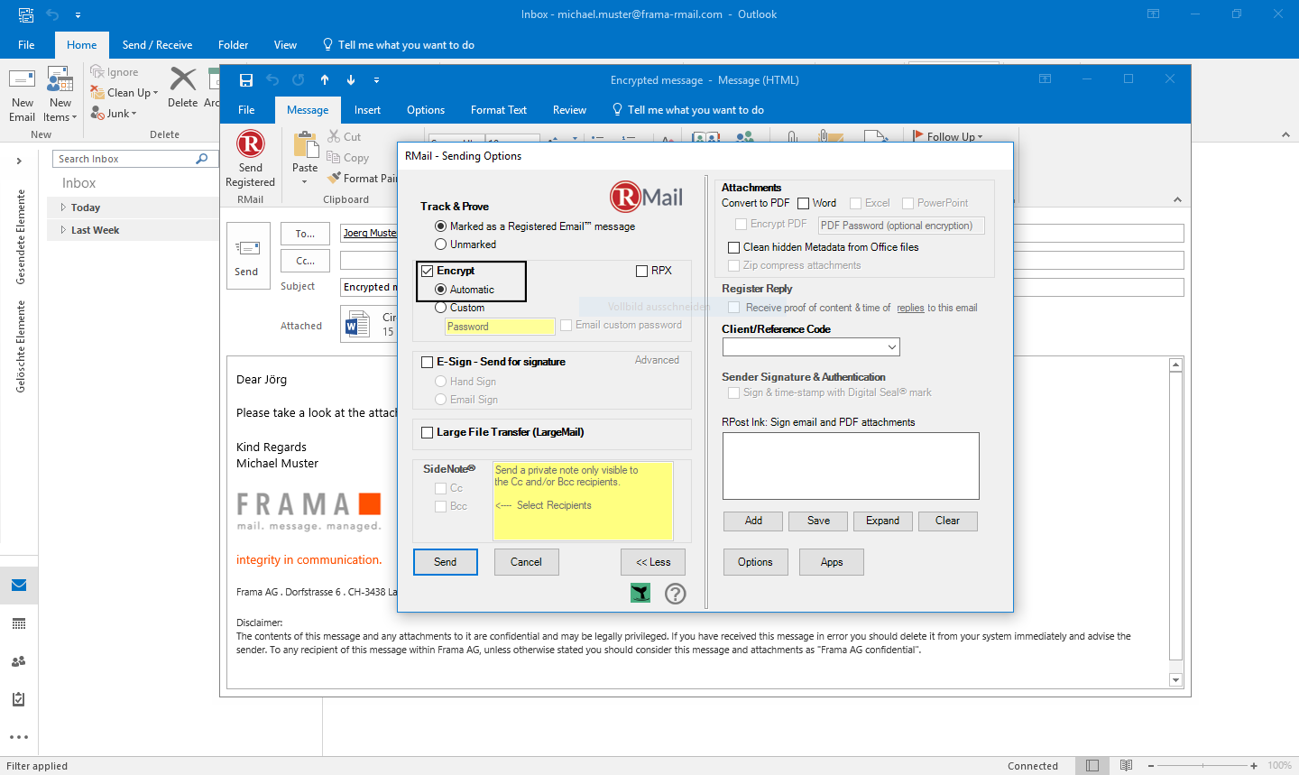 RMail for Outlook send encrypted emails - Step 3