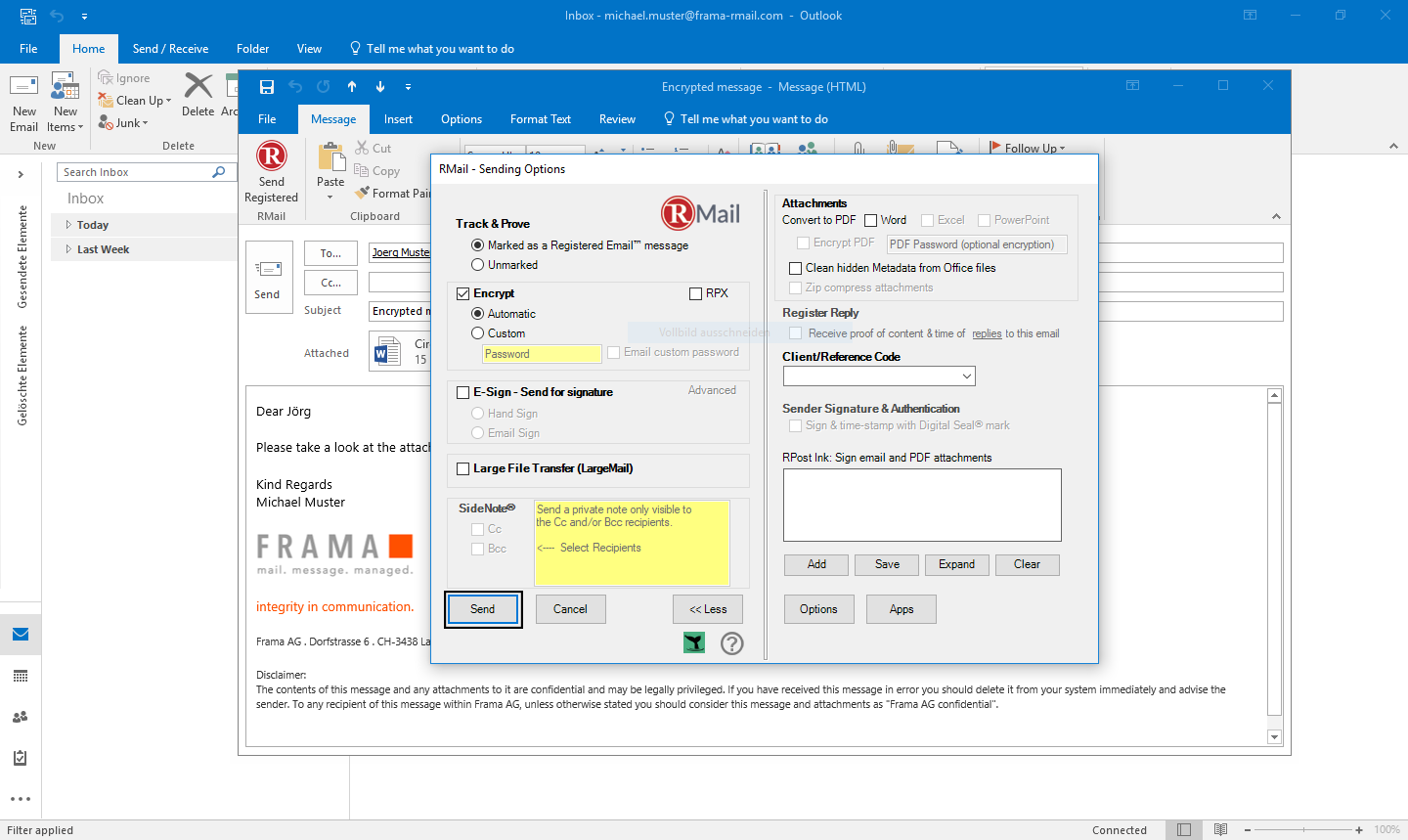 RMail for Outlook send encrypted emails - Step 4