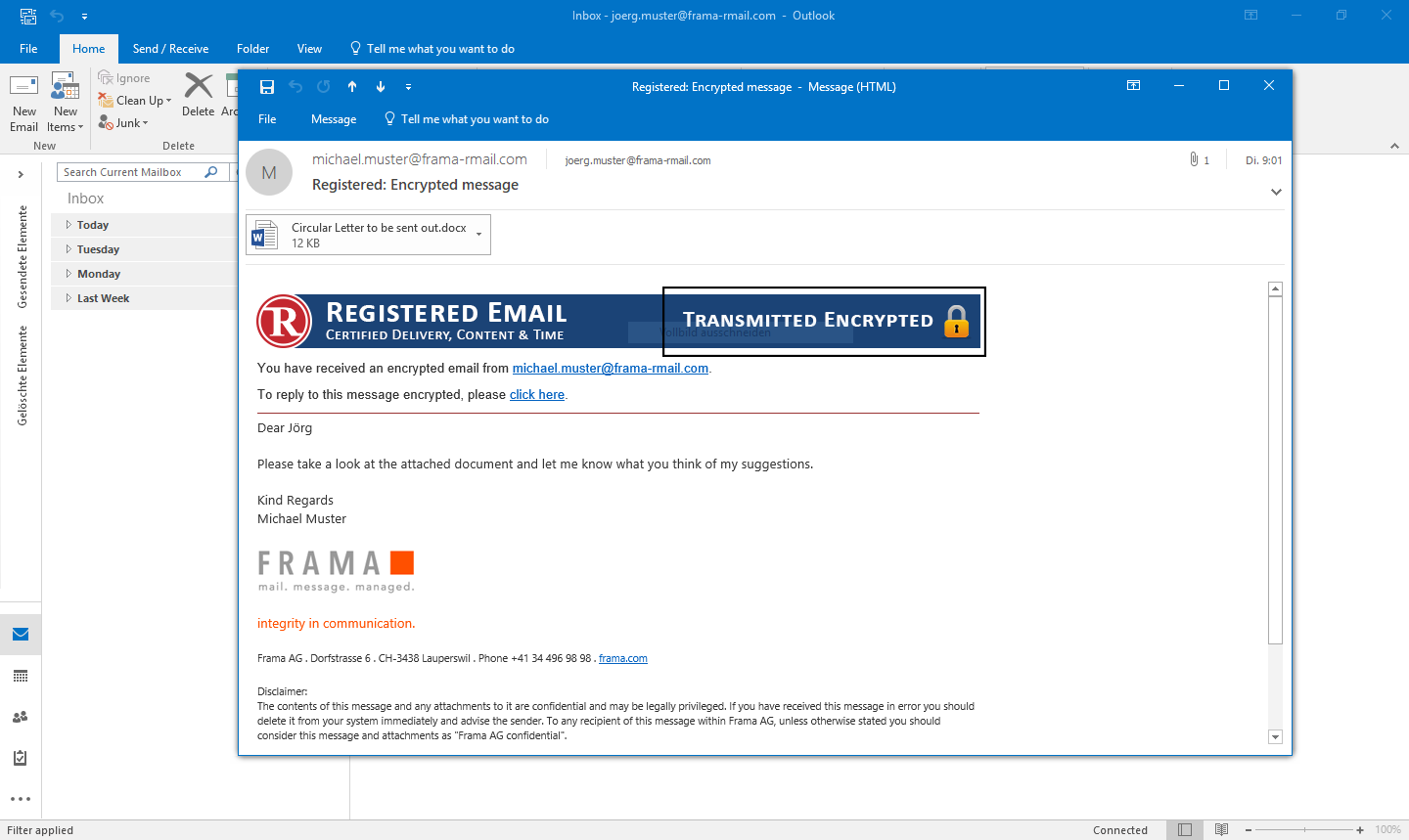 Email Encryption in Outlook with RMail | Frama RMail