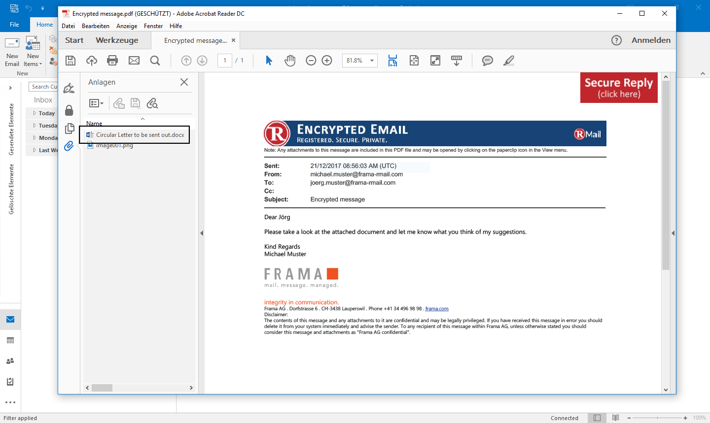 Receiving an password encrypted RMail - Step 3
