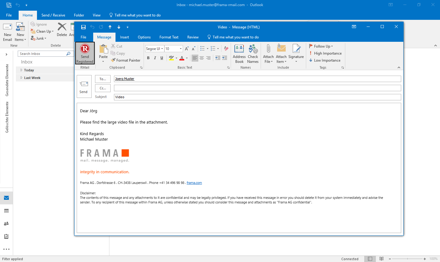 Send LargeMail with Outlook - Step 2