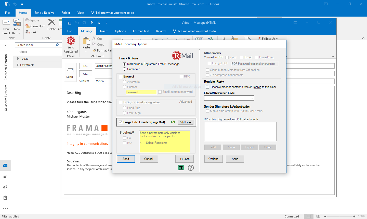 Send LargeMail with Outlook - Step 3