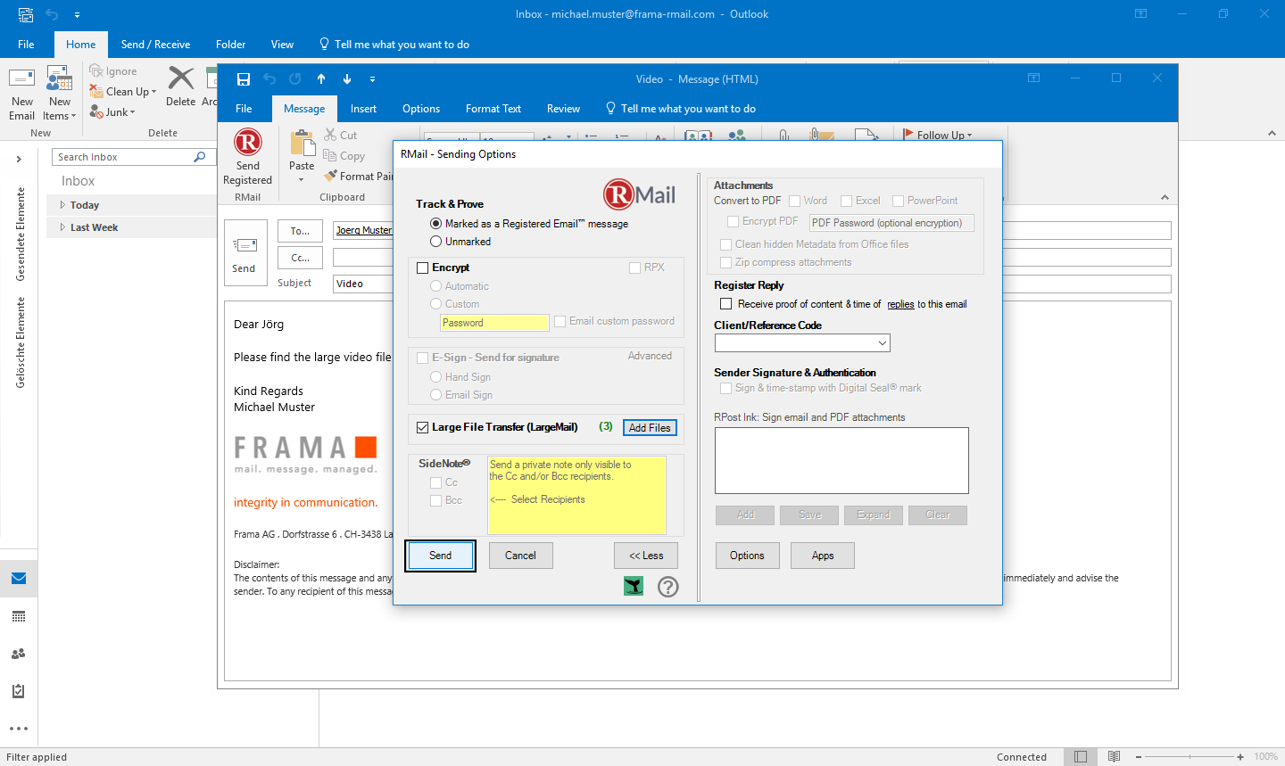 Send LargeMail with Outlook - Step 5