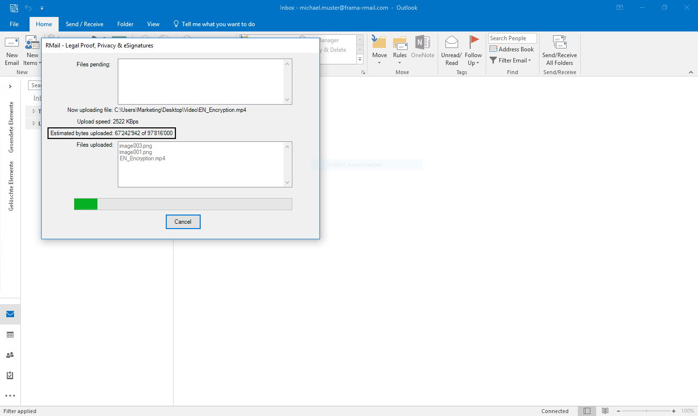 Send LargeMail with Outlook - Step 6
