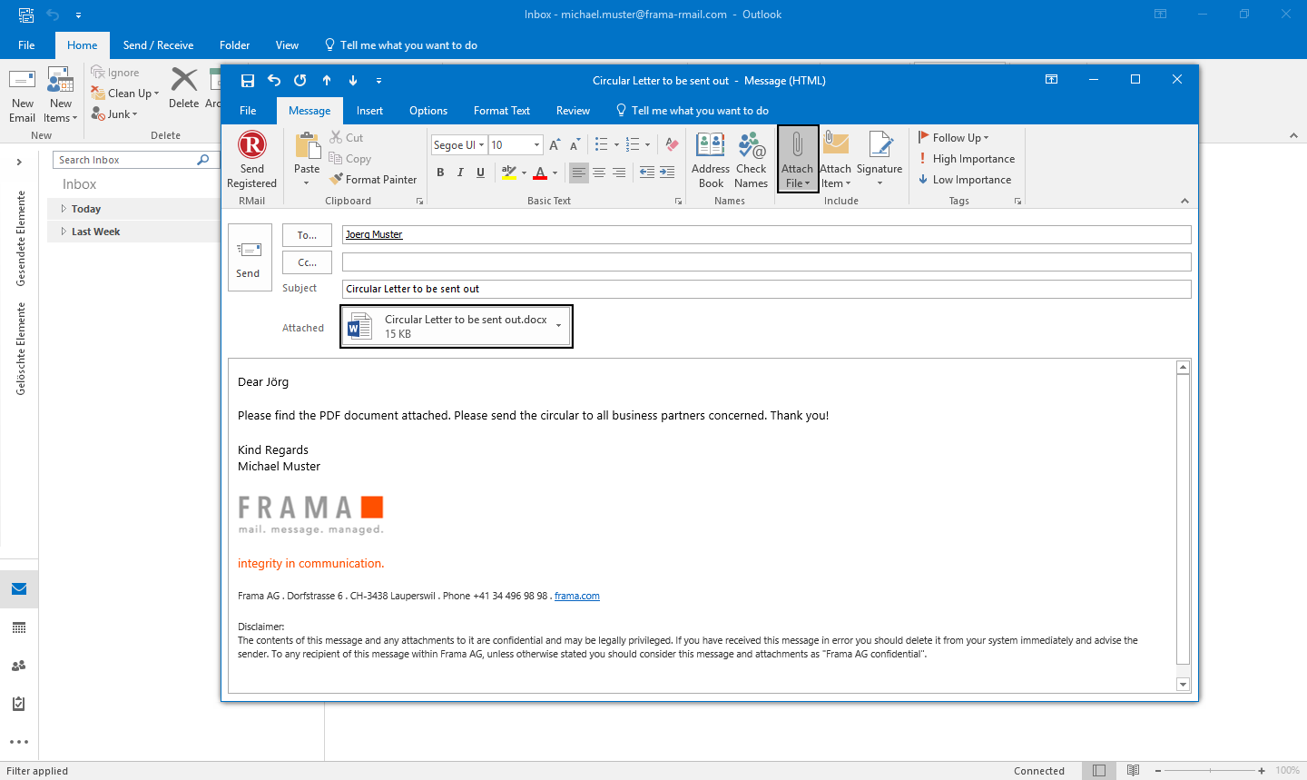 Convert attachments to PDF with Outlook - Step 1
