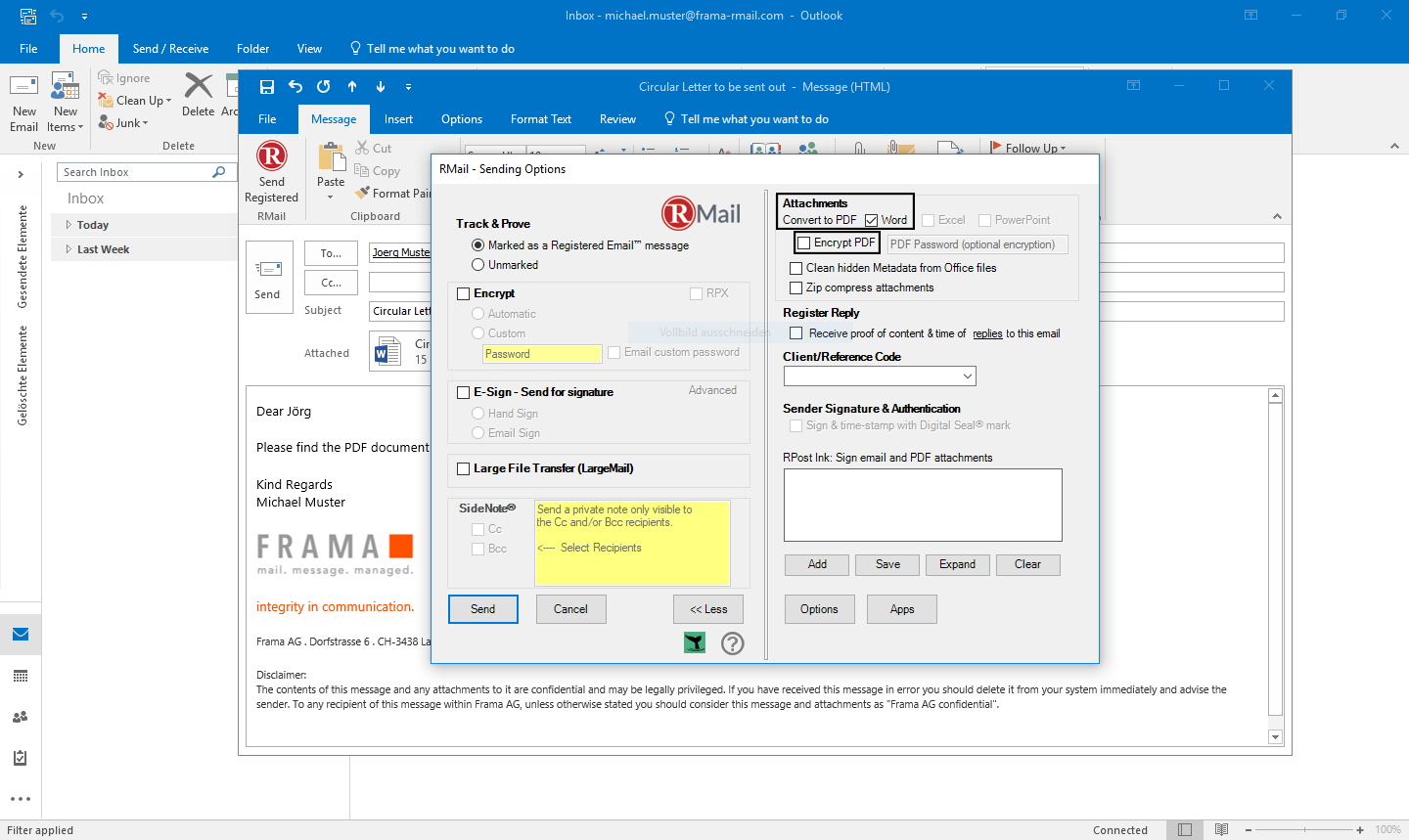 Convert attachments to PDF with Outlook - Step 3