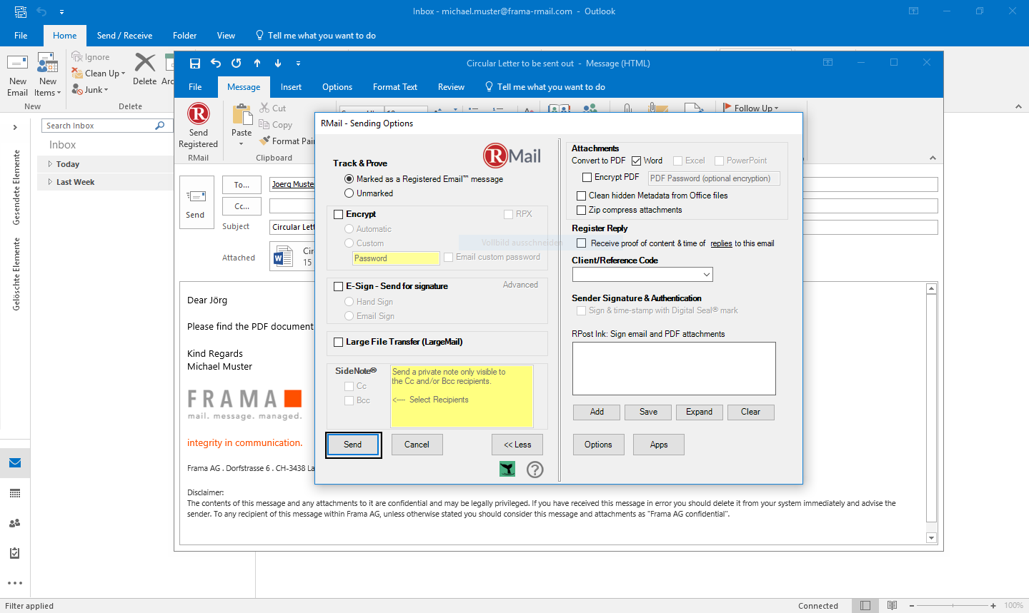 Convert attachments to PDF with Outlook - Step 4