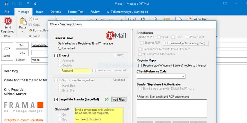 Manually activation of LargeMail by Frama RMail.