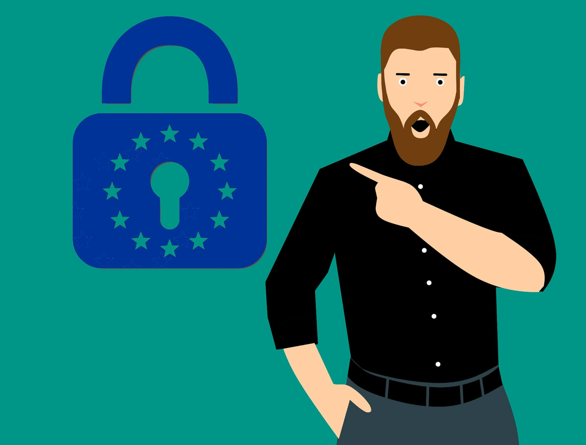 This graphic shows a man pointing to a lock. This lock has a star symbol symbolizing the European Union. The graphic stands for secure email encryption with TLS 1.2 according to data protection guidelines such as the GDPR.